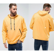 Yellow Round Collar Pullover Loose Hoodie