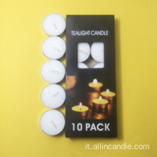 Candela in tealight bianca senza profumo da 10pc
