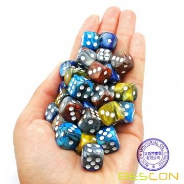 Bescon 12mm D6 Dice 36 in Cube, Assorted Gemini ROCK Colors, 12mm Six Sides Die (36) Block of Dice
