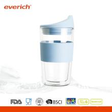 Eco-friendly Custom Heat Résistant double coupe de verre bon marché pour le café