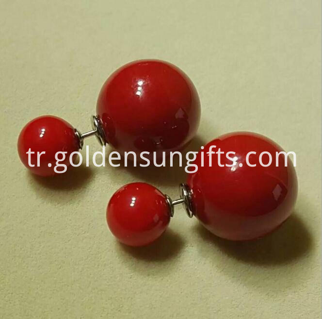 Red Shell Pearl Bead Ear Stud Jewelry