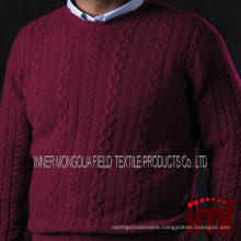 Men's Cashmere Aran Cable Crewneck Sweater