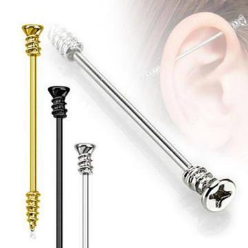 316L Surgical Steel Titanium Gold Black Plated Screw Industrial Barbell