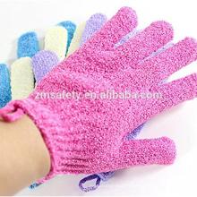 Gants assortis de massage en nylon de couleurs chaudes de vente, gants exfoliants de bain de douche