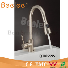 Nickle Finished Brass Pull Down Spray Water Flow Changeable Jet Single Lever Handle Kitchen Tap Mixer