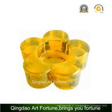 Porte-bougie imprimé en forme de fleur Tealight en verre