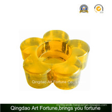 Printed Flower Shape Tealight Candle Holder Made of Glass