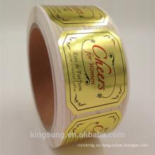 etiqueta engomada de papel de encargo de la hoja de oro de la impresión negra para el perfume