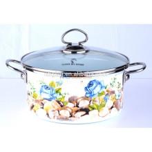 enamel strait pot with glass lid for Soup & Stock  enamel strait pot with glass lid for Soup & Stock