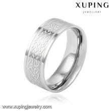 Anillo de dedo de la joyería de acero inoxidable plateado plata moda cool 14012