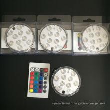 Décors de réservoir de poissons de fête de vase à distance Télécommandé RGB submersible 10 LED lumière étanche