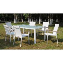 Meuble de jardin extérieur en aluminium Table de salle à manger et 6 chaises de salle à manger avec tissu Batyline