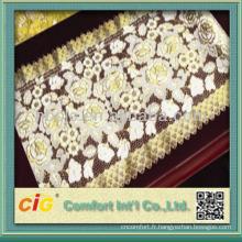 2014 tissu de tissu de table de dentelle de PVC d'or long