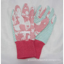 Kids Floral Printing Garden Glove, PVC DOT Work Glove