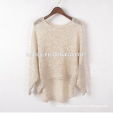woman spring summer light weight open hole knitwear tops with sequins