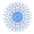 100% cotton soft textile blue cool pattern with tassels Round Beach Towel RBT-141