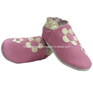 Rosa Blumen Leder Baby Schuhe