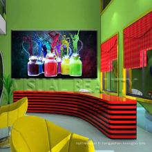 Art de toile en bouteille colorée de haute qualité pour le décor de bar
