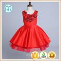 rote Stickerei Party XMas Kleider Mädchen Kleid tanzen hochklassige chinesische rote Kleider flauschige neues Jahr Kinder Geburtstagskleid