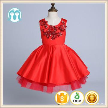 broderie rouge partie XMas robes filles robe de danse de haut niveau chinois rouge robes moelleux nouvel an enfants robe d'anniversaire