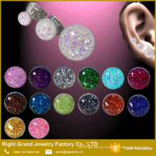 Pink Color Round Glitter Epoxy Solid Stainless Steel Earring Studs