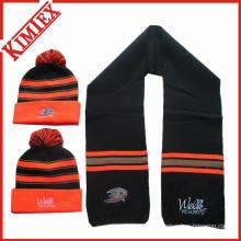 100% акриловый зимний шарф и шапочка вязаный комплект