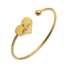 Elasticity Stainless Steel Jewelry Electrocardiogram Ecg Cuff Heart Bracelet Bangle