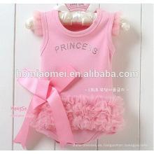 2016 color rosa vestido de encaje del bebé mameluco nueva moda instock ropa de bebé recién nacido al por mayor