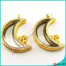 Gold Mond Memory Medaillon Anhänger Halskette (FL16041943)