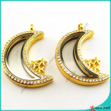 Золото памяти Луна медальон Кулон ожерелье (FL16041943)