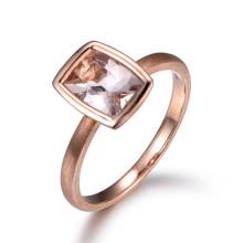 6x8mm Emerald Cut Morganite Engagement Ring 14k Rose gold Solitaire Ring Filigree Leaf band