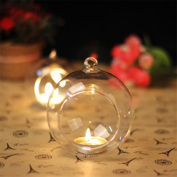 8CM home decoration clear hollow glass spheres with hanging hole