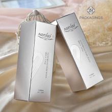 Caja de empaquetado de papel crema personal para el cuidado de la piel