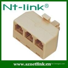 NT-Link 6p4c Color marfil 3 vías Jack