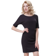 Grace Karin Half Sleeve Crew Neck Batwing Sleeve Hips-Wrapped Black Bodycon Pencil Dress CL010489-1