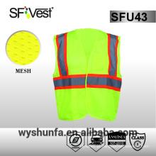 ANSI / ISEA 107-2010 colete de estrada colete de segurança de alta visibilidade 100% tecido de poliéster 3M fita reflexiva muitos bolsos frente