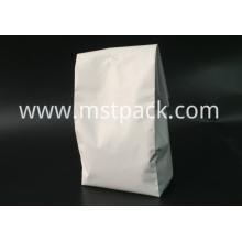 White Matte Plastic Quad Seal Bag