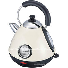 Cream Color Stainless Steel Cordless Pyramid Electric Kettle with Thermometer