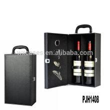 Caja de cuero del vino nuevo llegada de lujo para 2 botellas de la fábrica de China