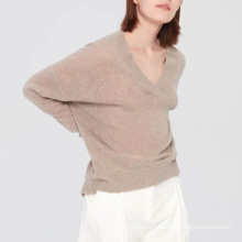 Fashionable v neck cotton cashmere sweater for women