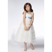 testA-line de cintas largas chá de comprimento Organza lantejoulas Flower Girl Dresses