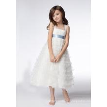 Vestidos de flor de lantejoulas de organza com alças largas testA-line