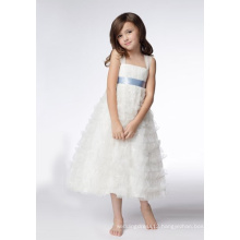 testA-line Wide Straps Tea-length Organza Sequins Flower Girl Dresses