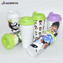 Directamente fábrica Nueva llegada suramericano venta caliente taza de plástico de impresión de sublimación con tapa