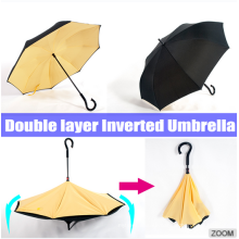 190T pongee inverted reverse umbrella with c shape handle