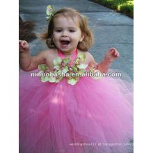 NW-243 Fairy-tale saia doce com flores artesanais vestido de tut de tule