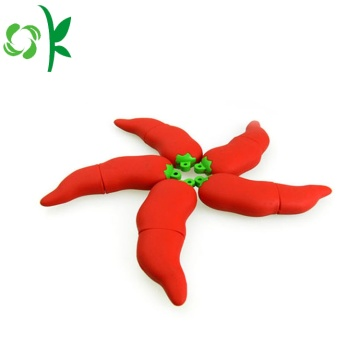 Red Chili Silicone USB Bìa Flash Drive Bìa