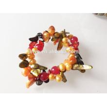 Pulsera con cuentas de concha de piedras preciosas de perlas elásticas