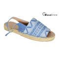 Sandales plates en toile imprimée à la mode à la mode pour femmes