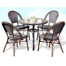 Hot sale cafe bamboo garden furniture teslin aluminum dining sets chair and table